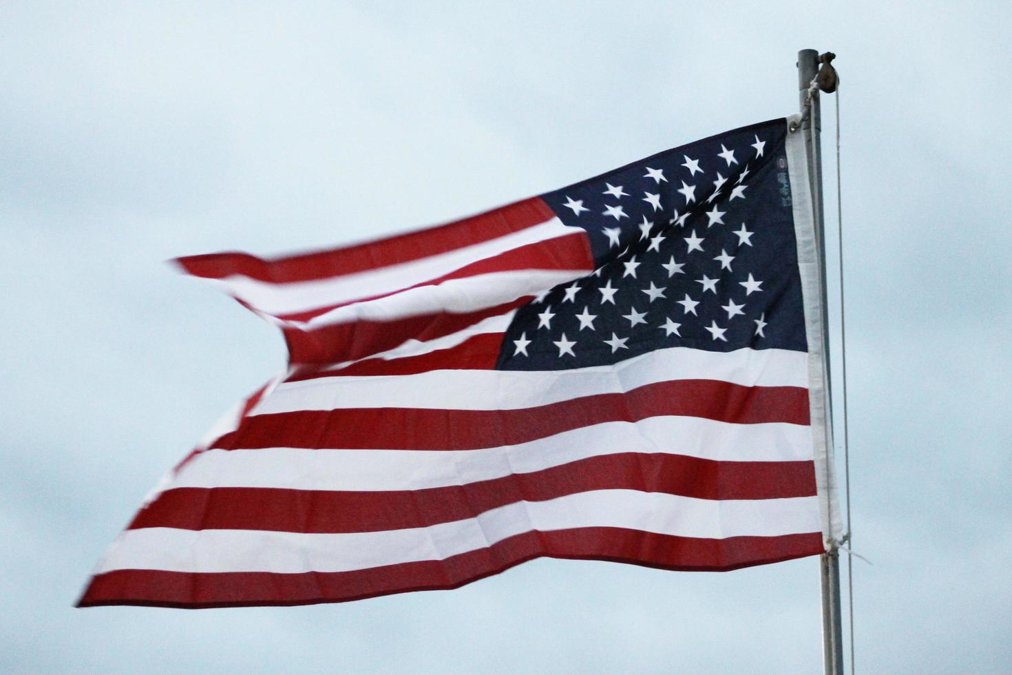 American flag in the wind photo
