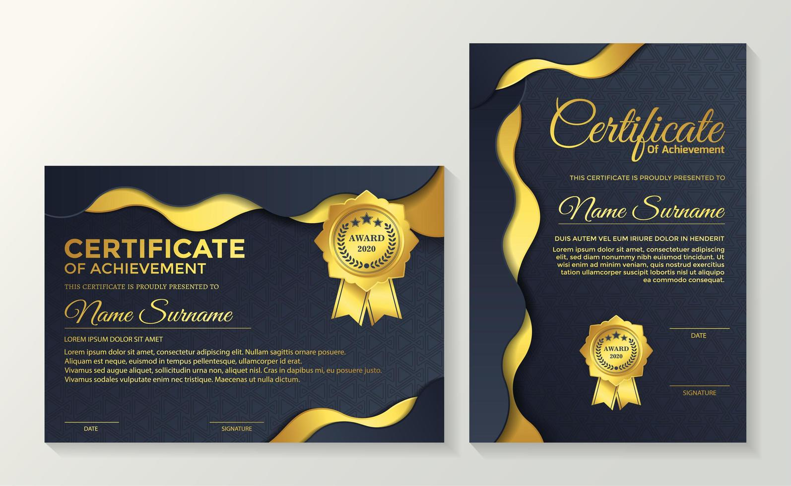 Wavy gold and blue layered premium certificates vector