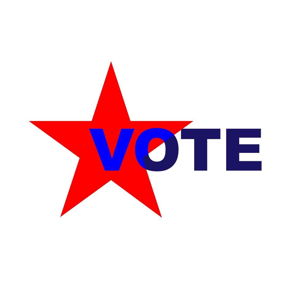 voto tipografía con estrella roja vector