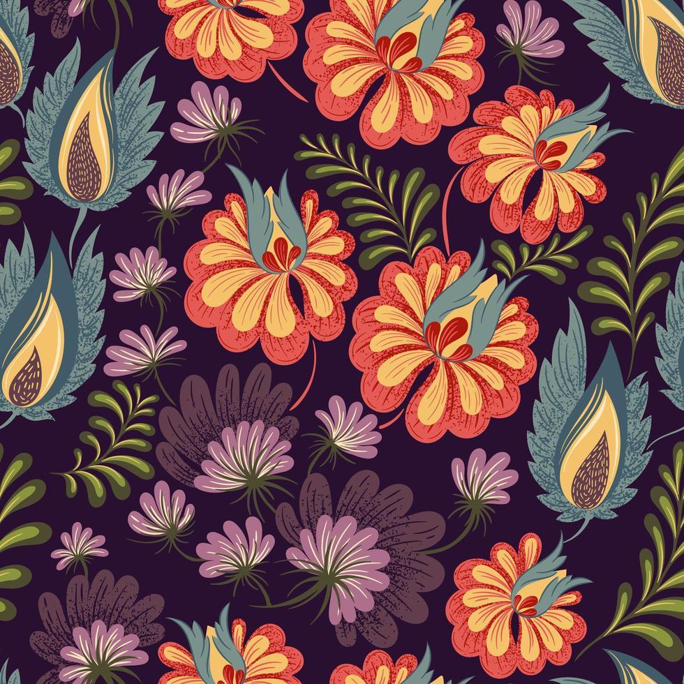 padrão floral escuro sem costura vetor