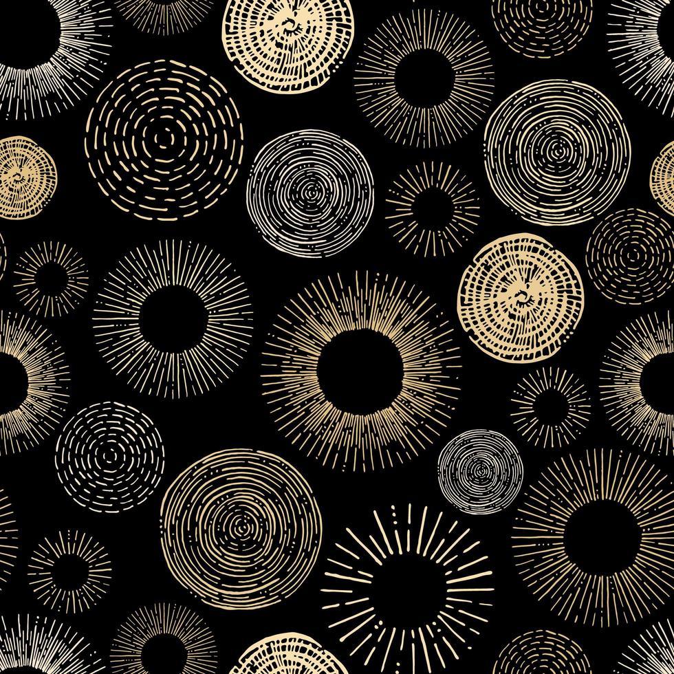 Círculo estilizado dorado y negro de patrones sin fisuras vector