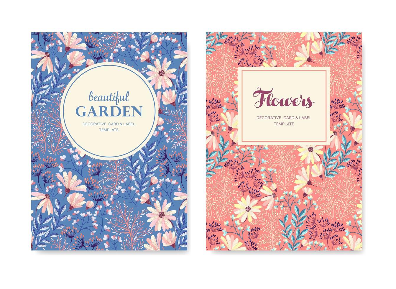 primavera floral tarjetas de felicitación vector