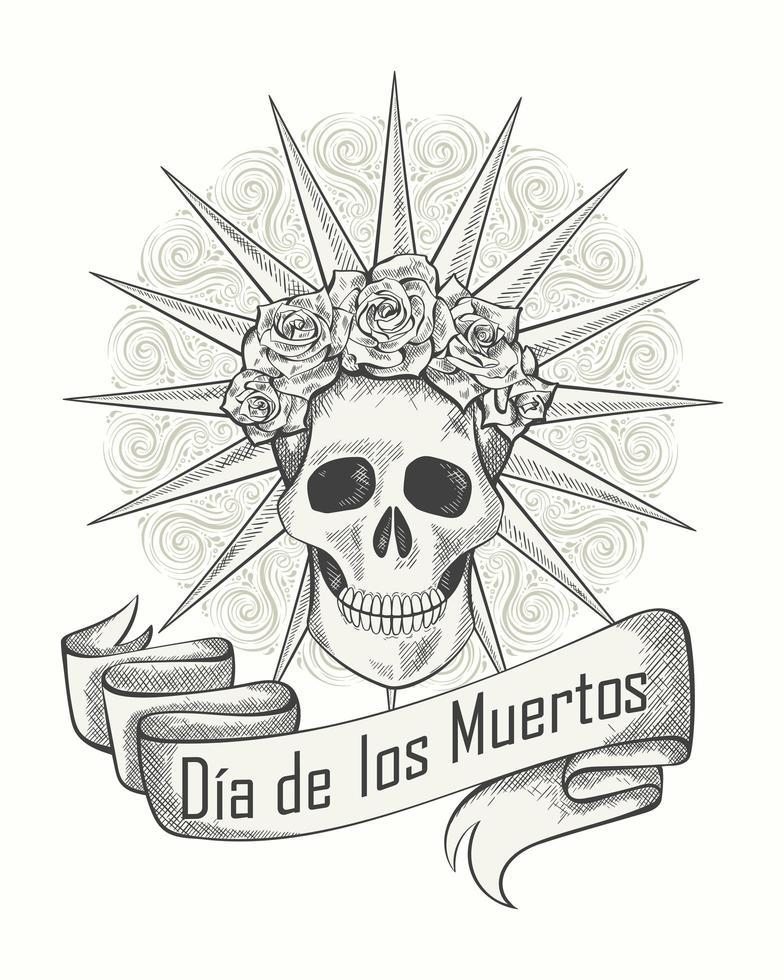 cartel monocromático del día de los muertos vector