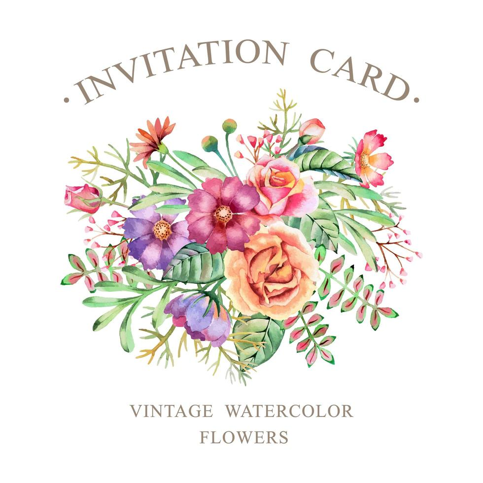 Watercolor Flowers Invitation Card vector