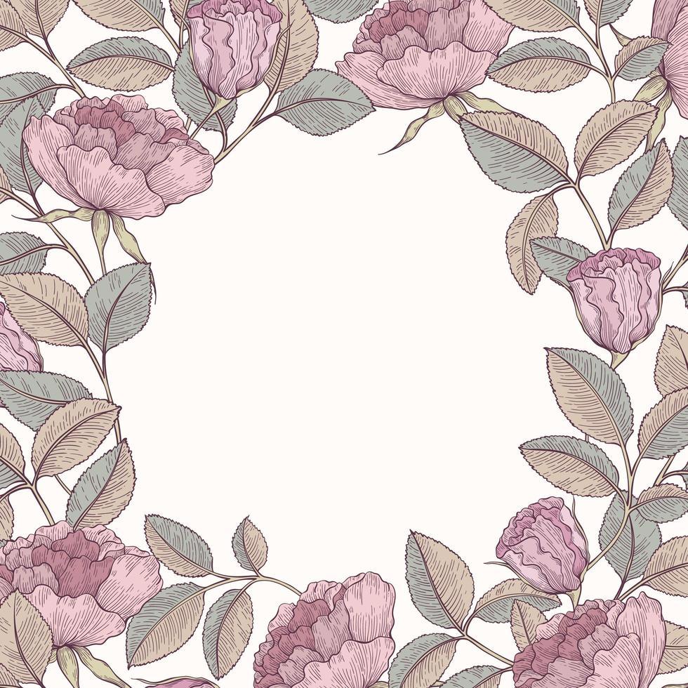 Hand drawn rose garden frame vector