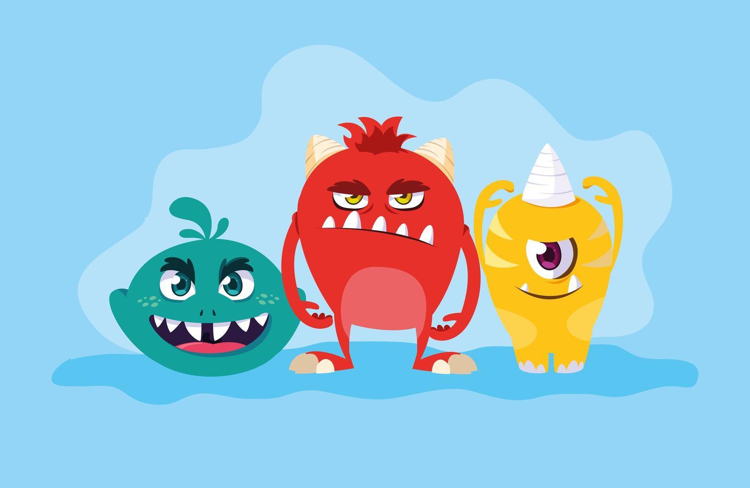 diseño de grupo de monstruos vector