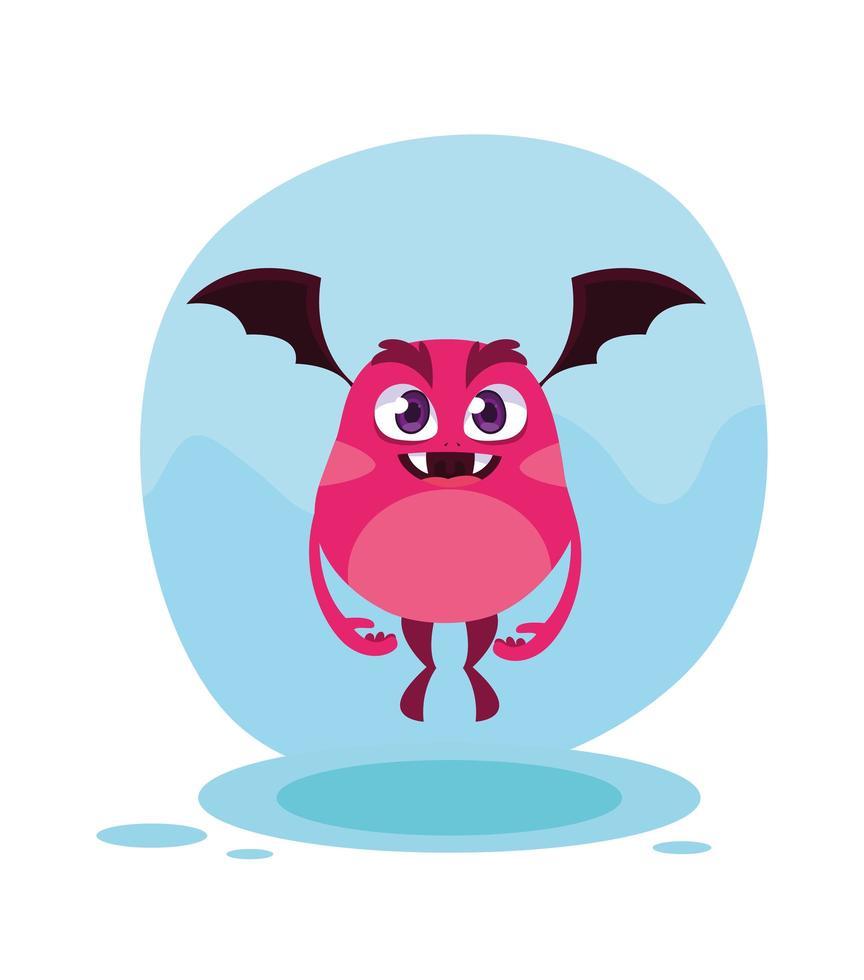 Pink monster cartoon design icon vector