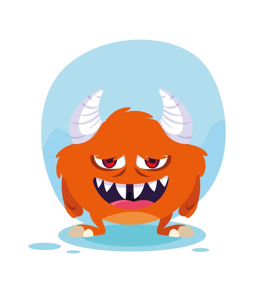 icono de diseño de dibujos animados de monstruo naranja vector