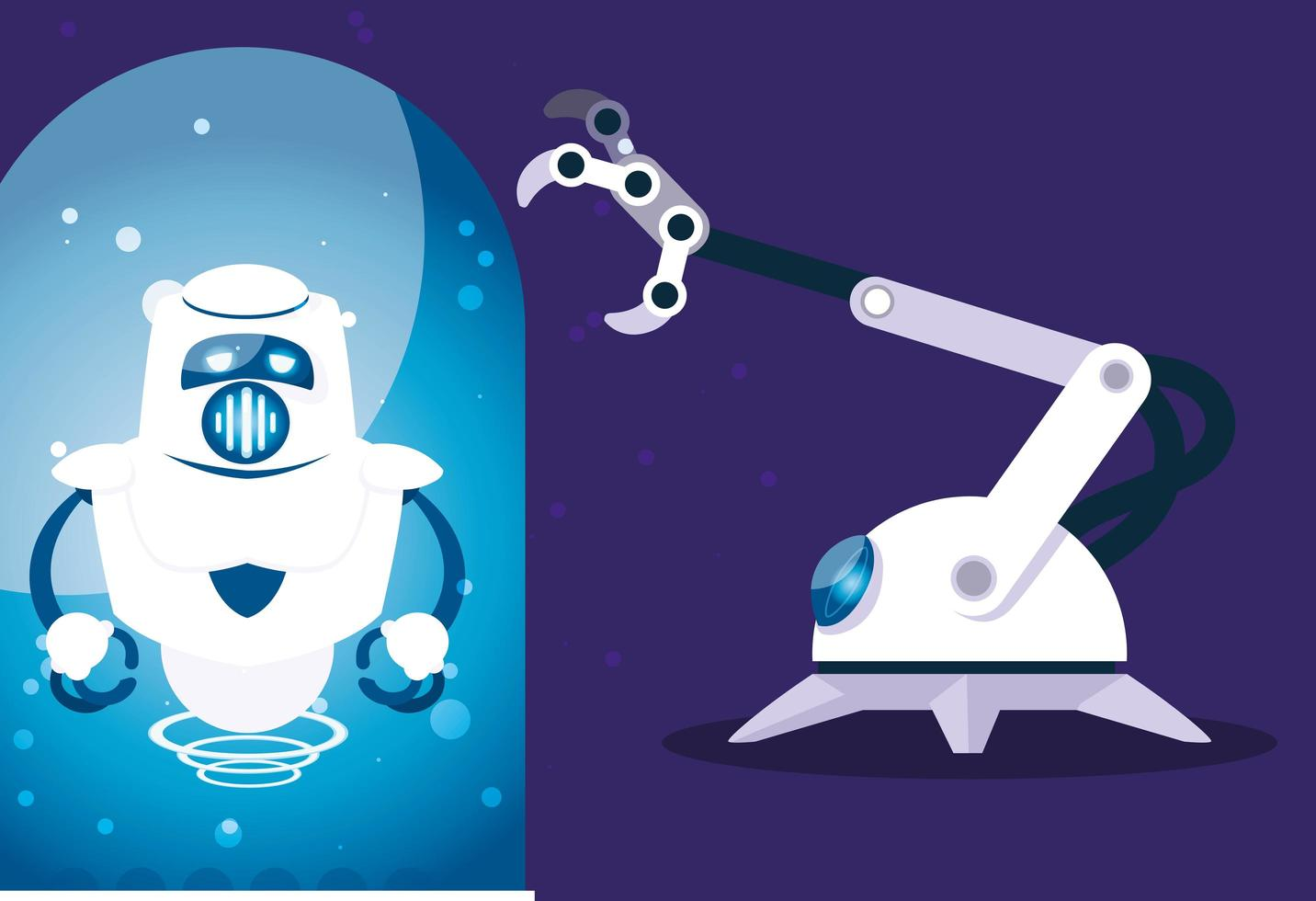caricatura de robot sobre fondo azul vector