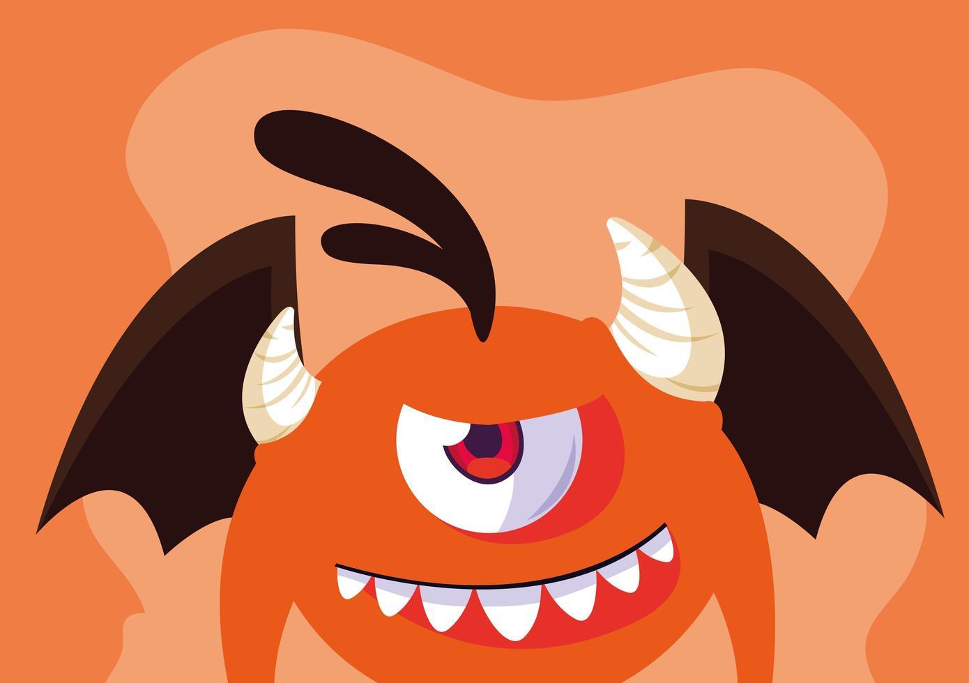 Orange monster cartoon design icon vector