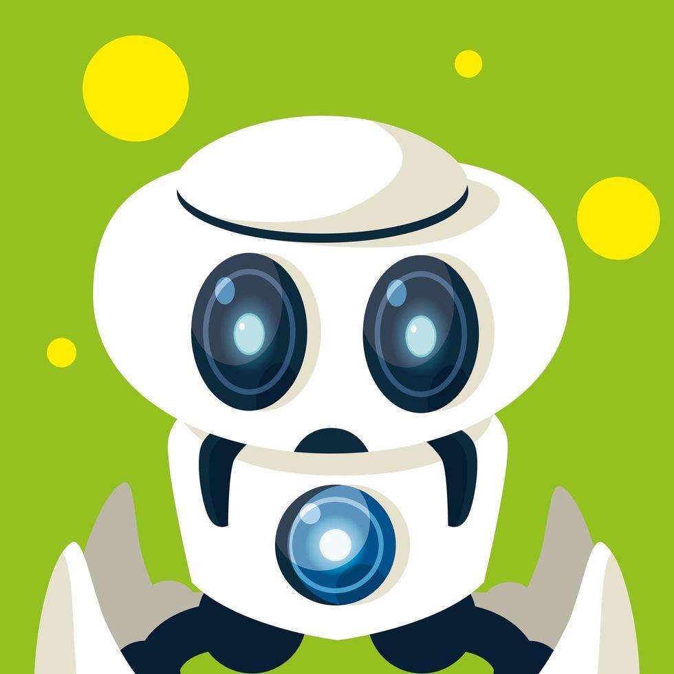 dibujos animados de robot de tecnología sobre fondo verde vector