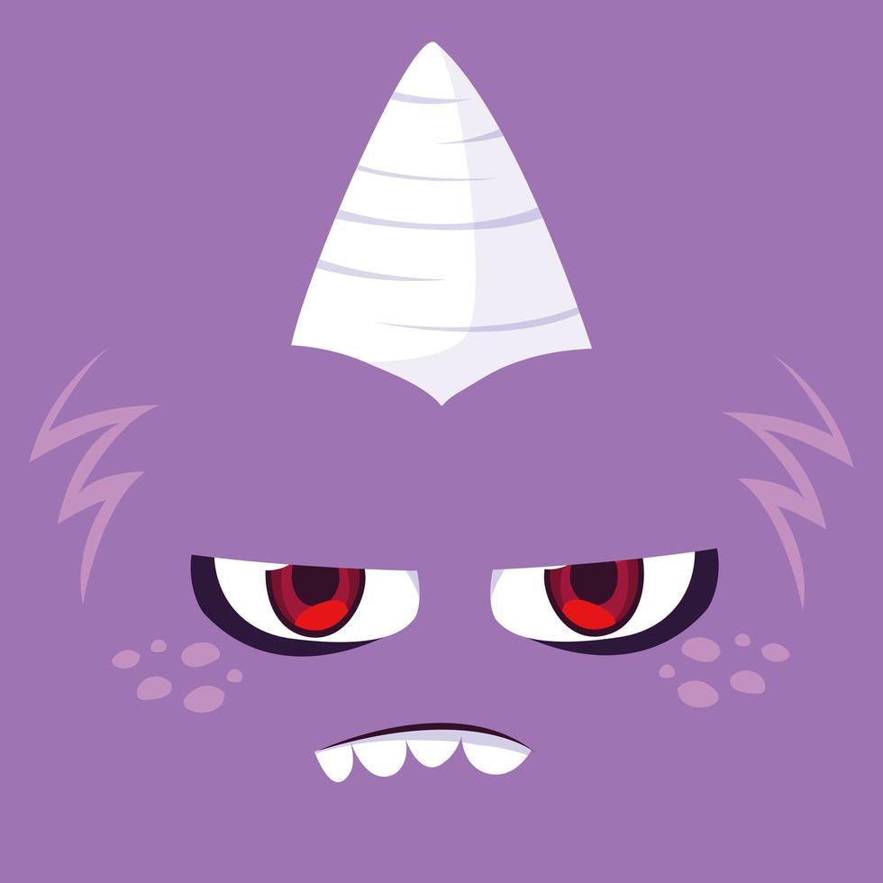 Purple monster cartoon design icon  vector