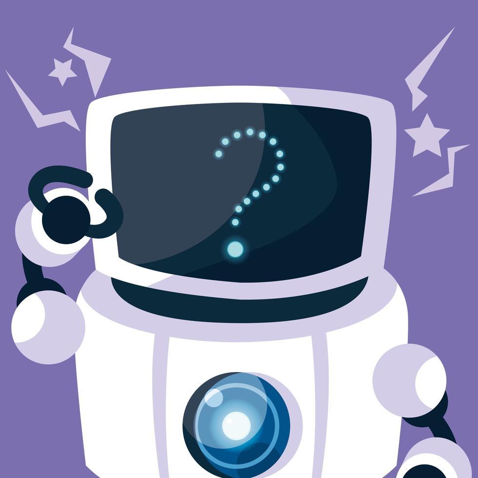 robot de tecnología sobre fondo morado vector