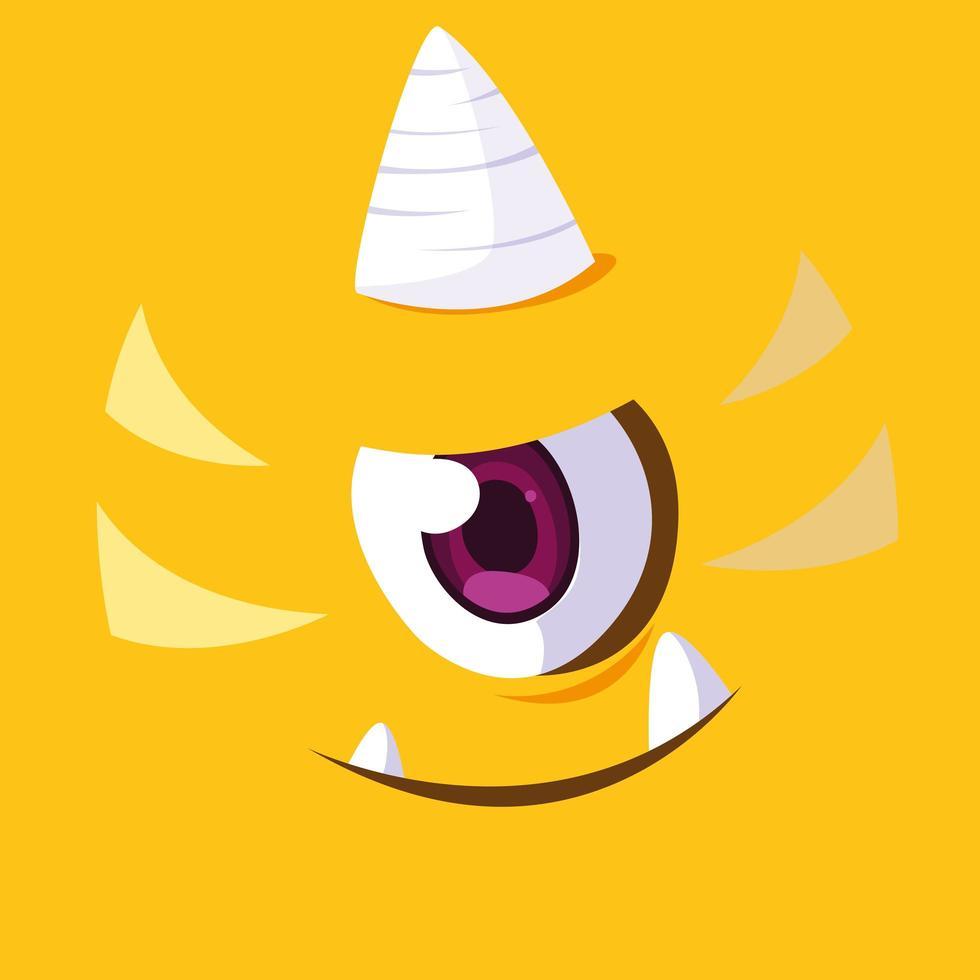 icono de diseño de dibujos animados de monstruo amarillo vector