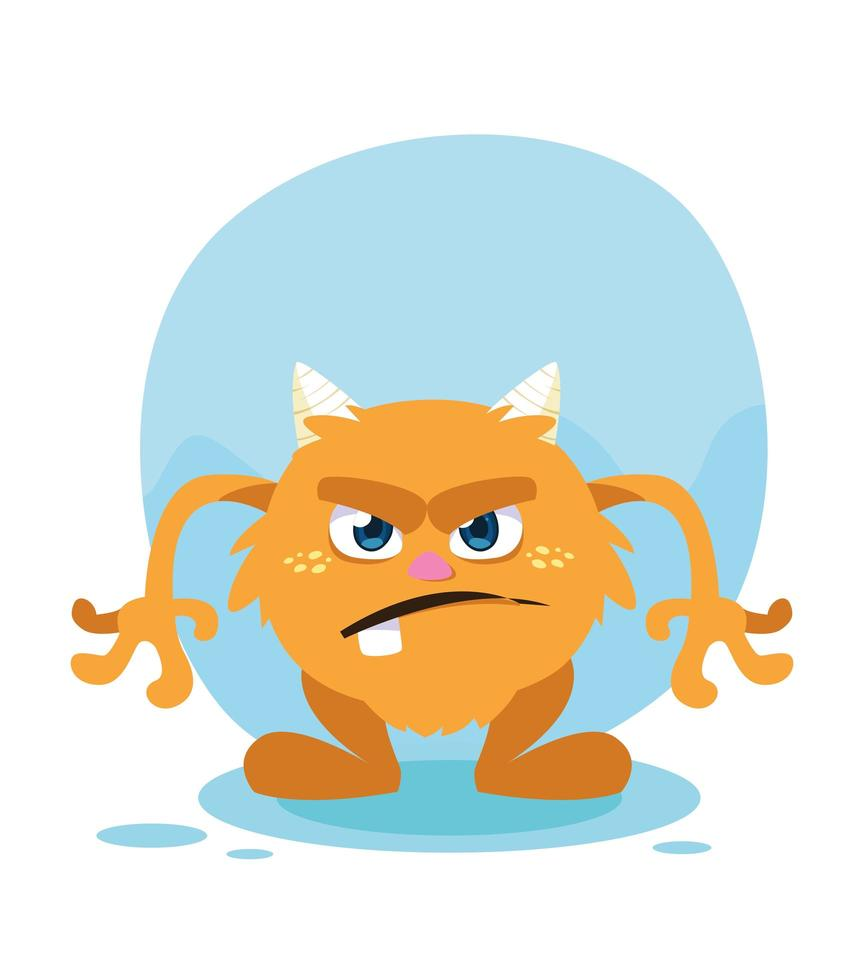 Ilustración de vector de icono de diseño de dibujos animados de monstruo naranja