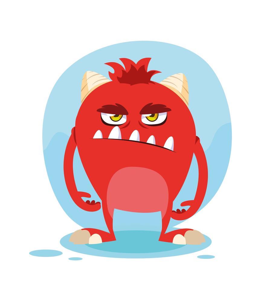 Red monster cartoon design icon vector