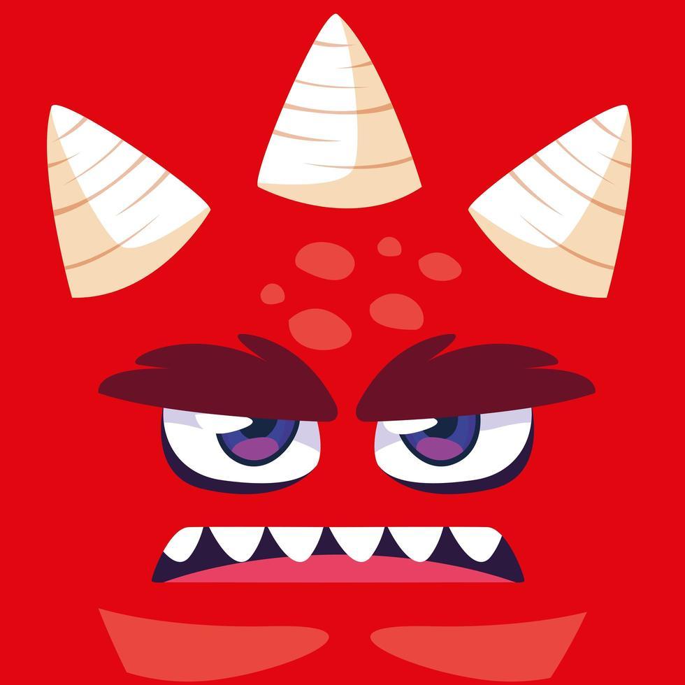 icono de diseño de dibujos animados de monstruo rojo vector