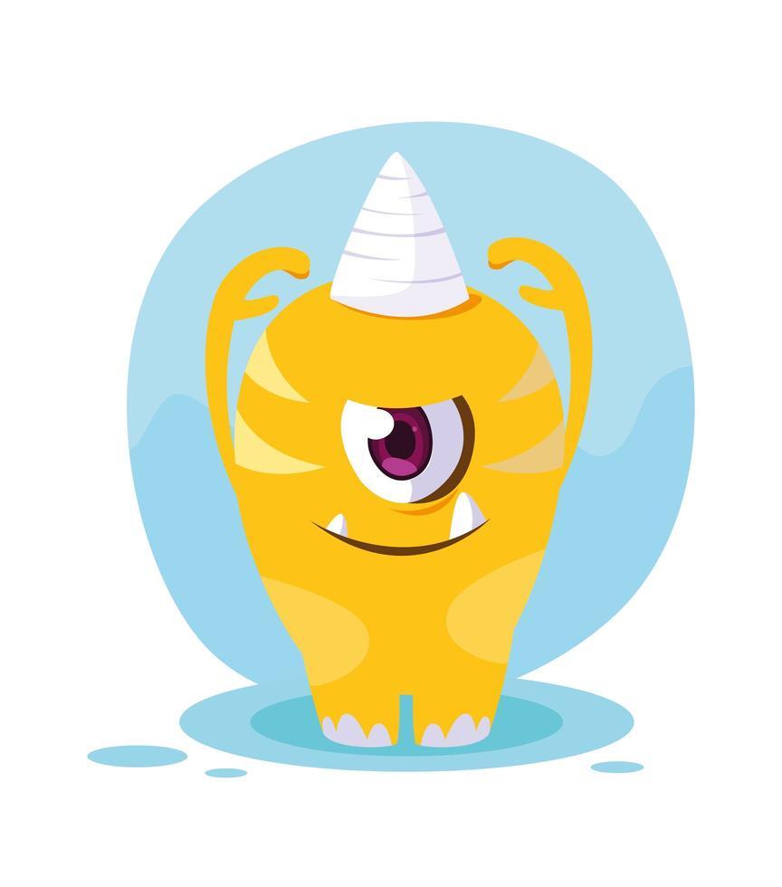 Yellow monster cartoon design icon vector