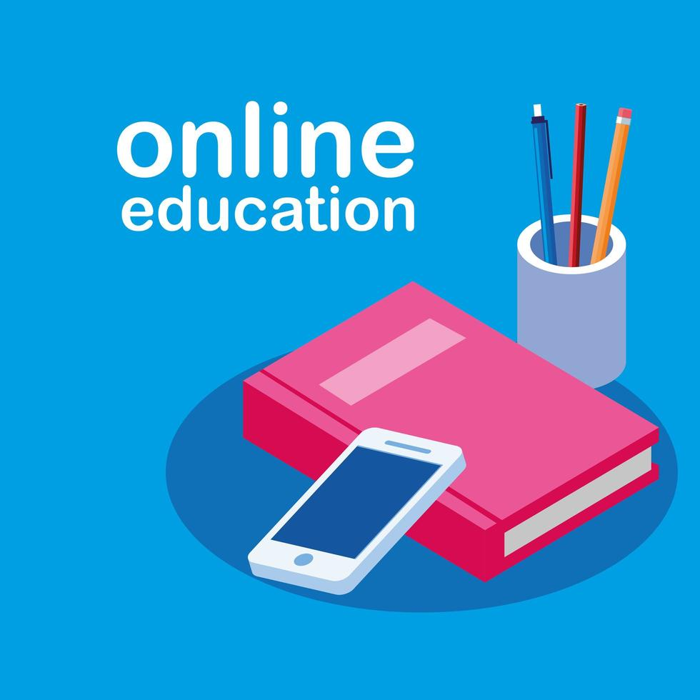 Online education with smartphone and book vector