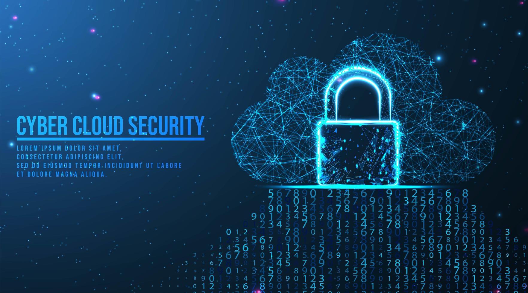 concepto de seguridad y computación en la nube de big data vector