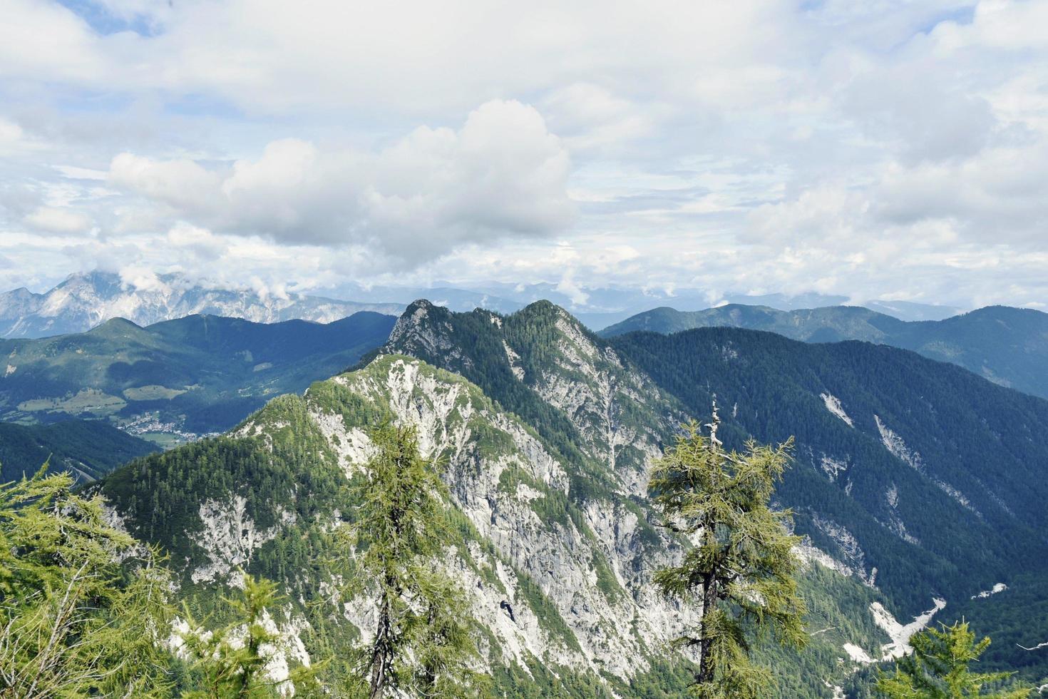High alpine mountain peaks photo