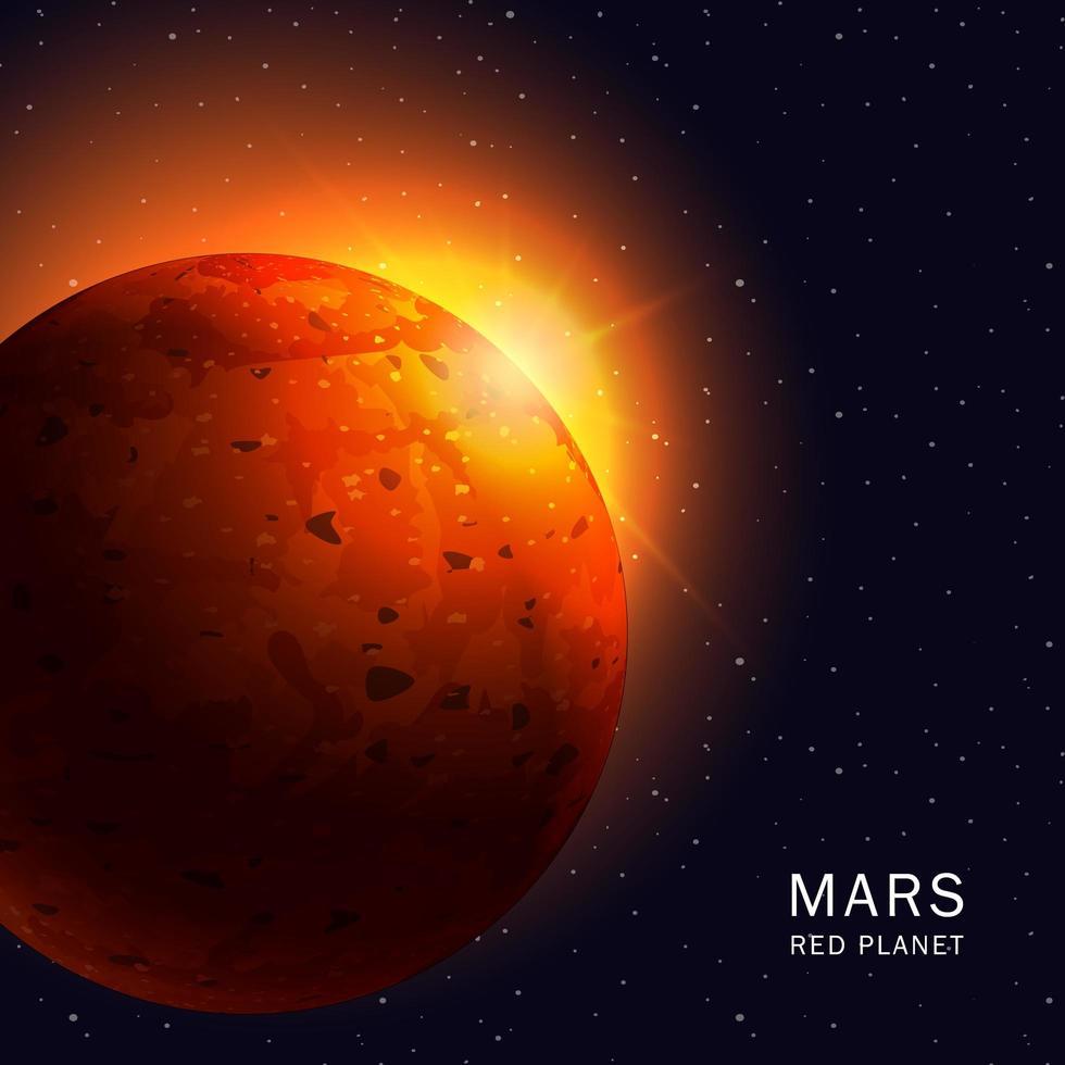 cartel del planeta rojo de marte vector