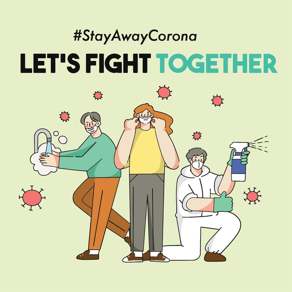 Let's Fight Corona Covid-19 Pandemic Together Concept  vector
