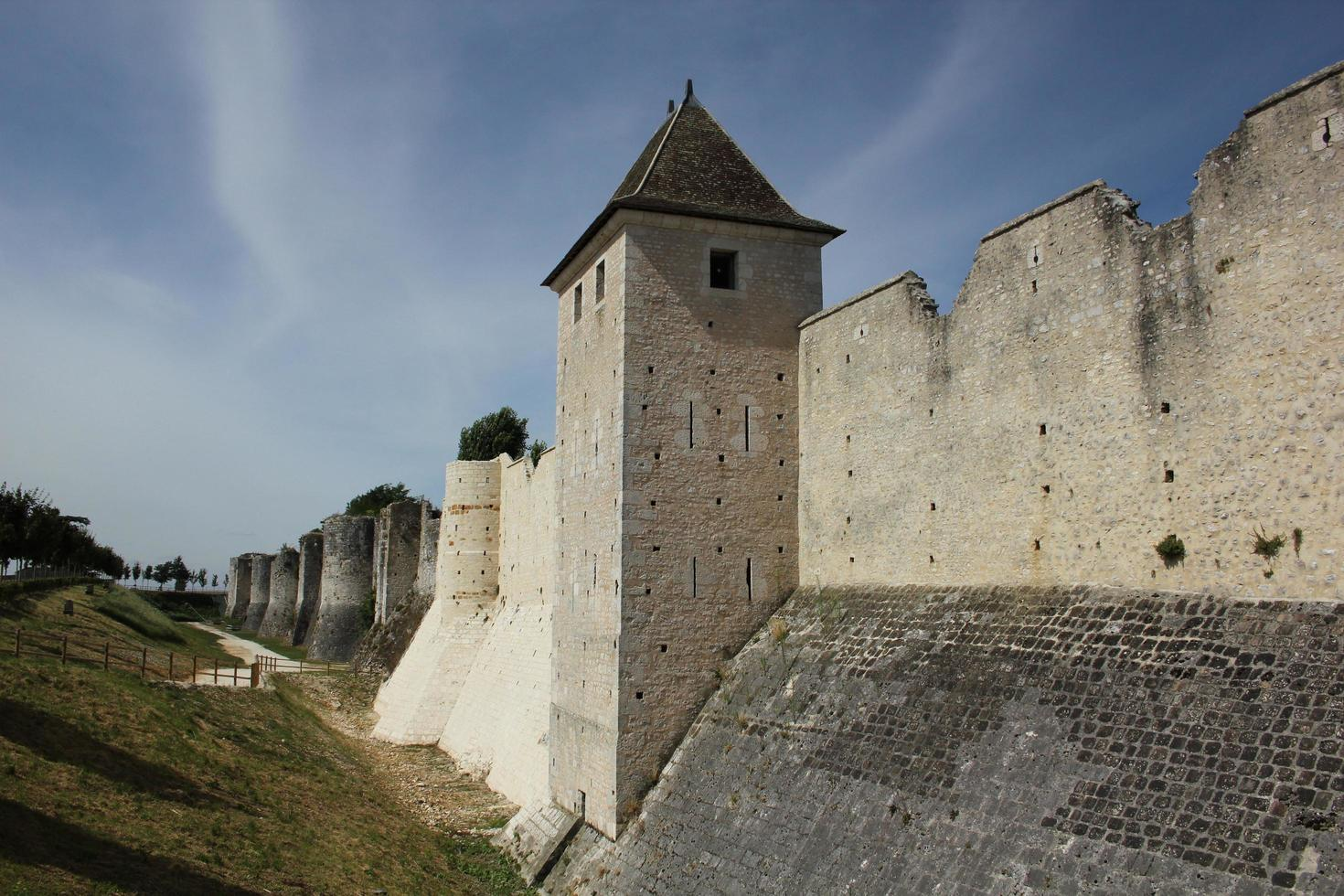 Wall of medieval city Provins in France photo