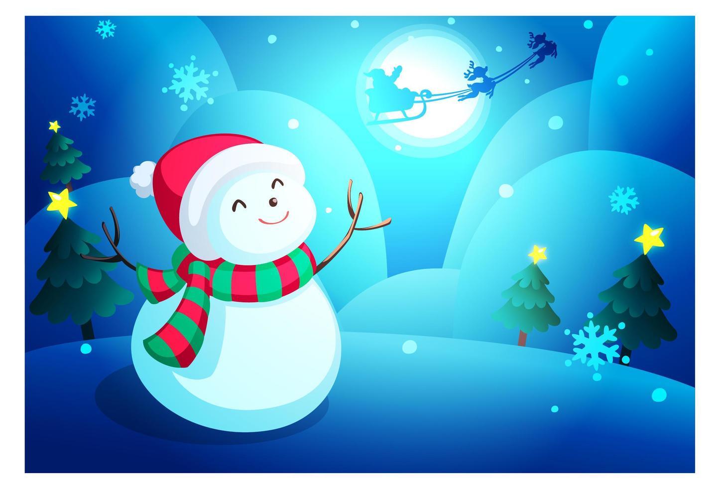 fondo de pantalla de muñeco de nieve de navidad vector