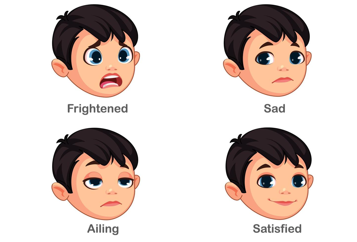 Boy with different facial expressions part 2 vector