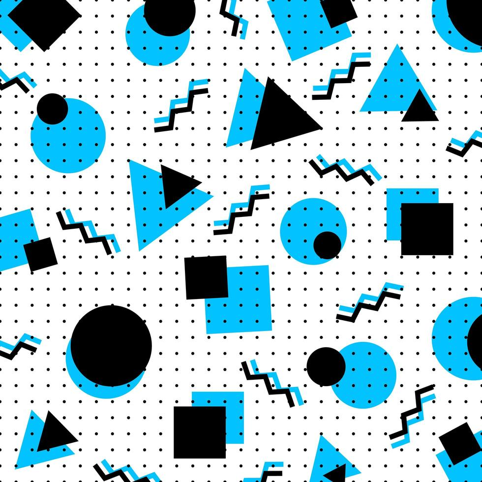 Abstract blue and black geometric circles and triangle background vector