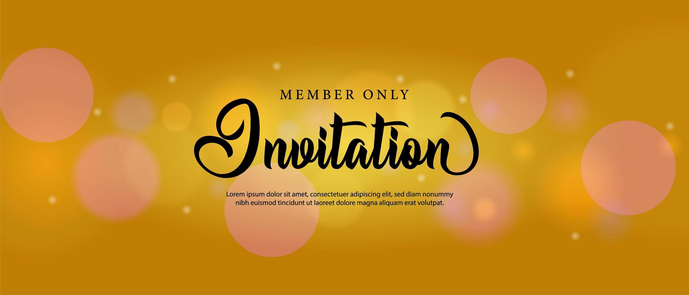 Gold bokeh invitation card template design vector