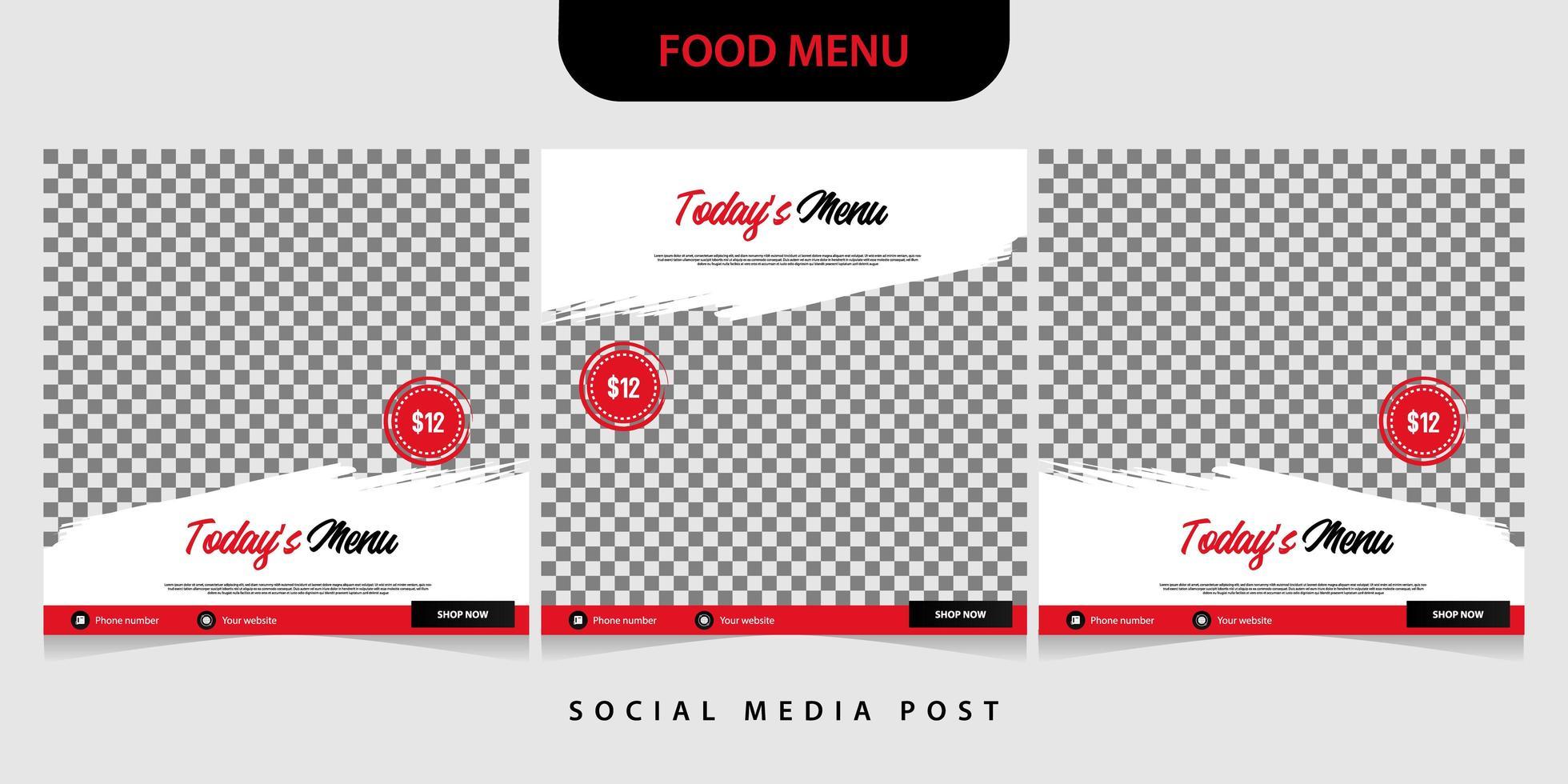 Set of food banner template for social media post vector