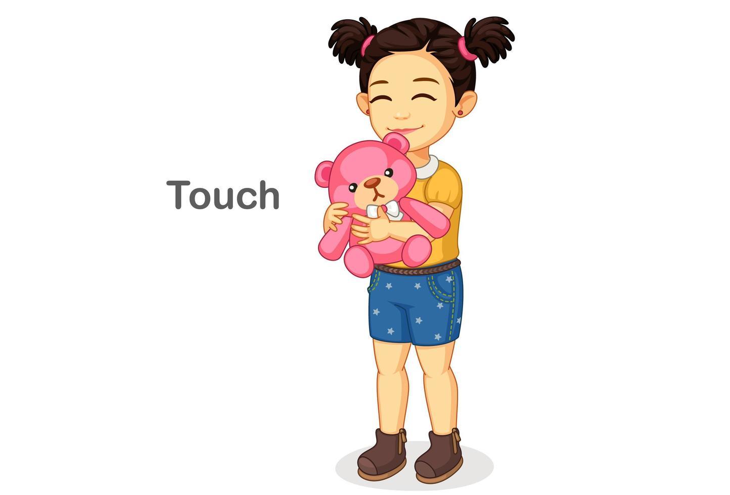 niña sosteniendo un peluche que muestra el sentido del tacto vector