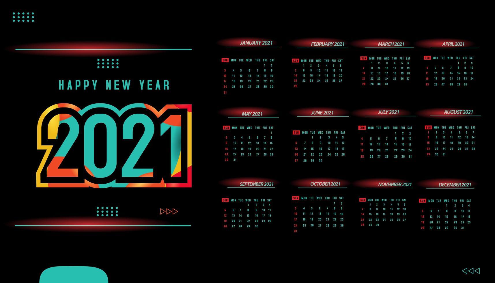una página, diseño de plantilla de calendario 2021 vector