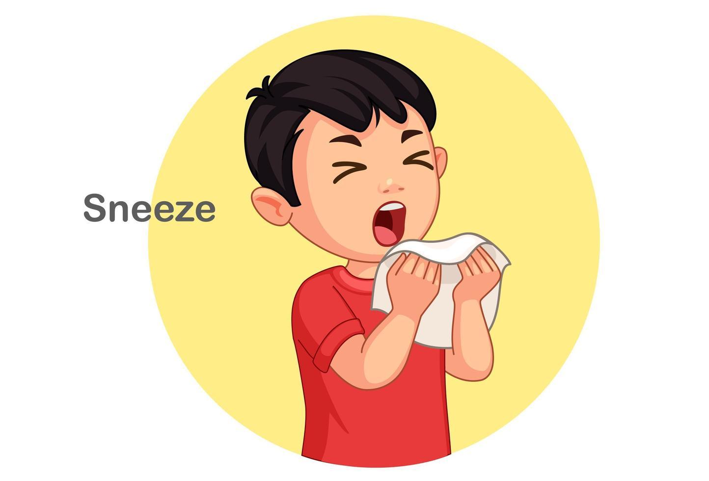 Cute boy sneezing vector