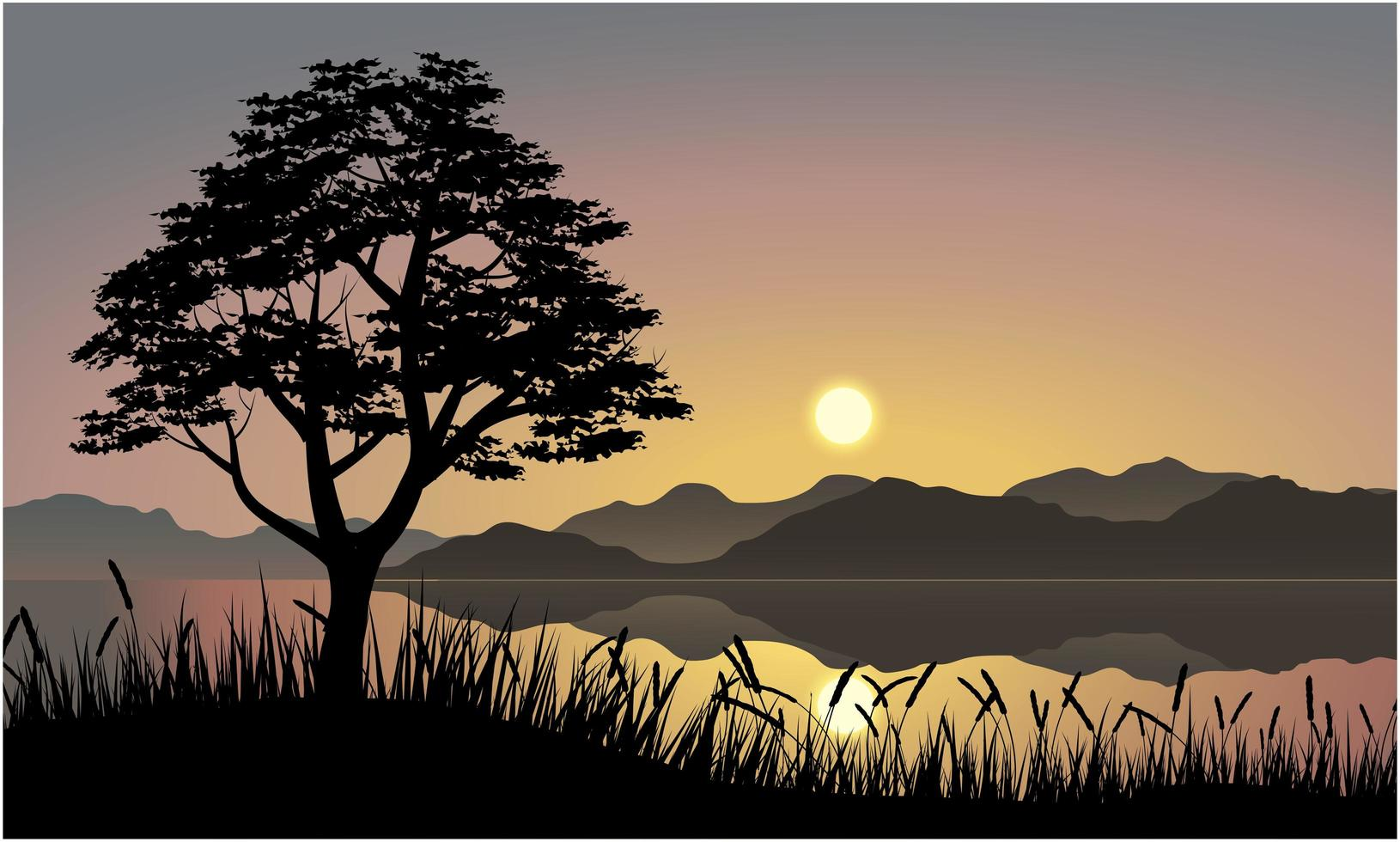 Sunset reflecting on water over mountains landscape vector