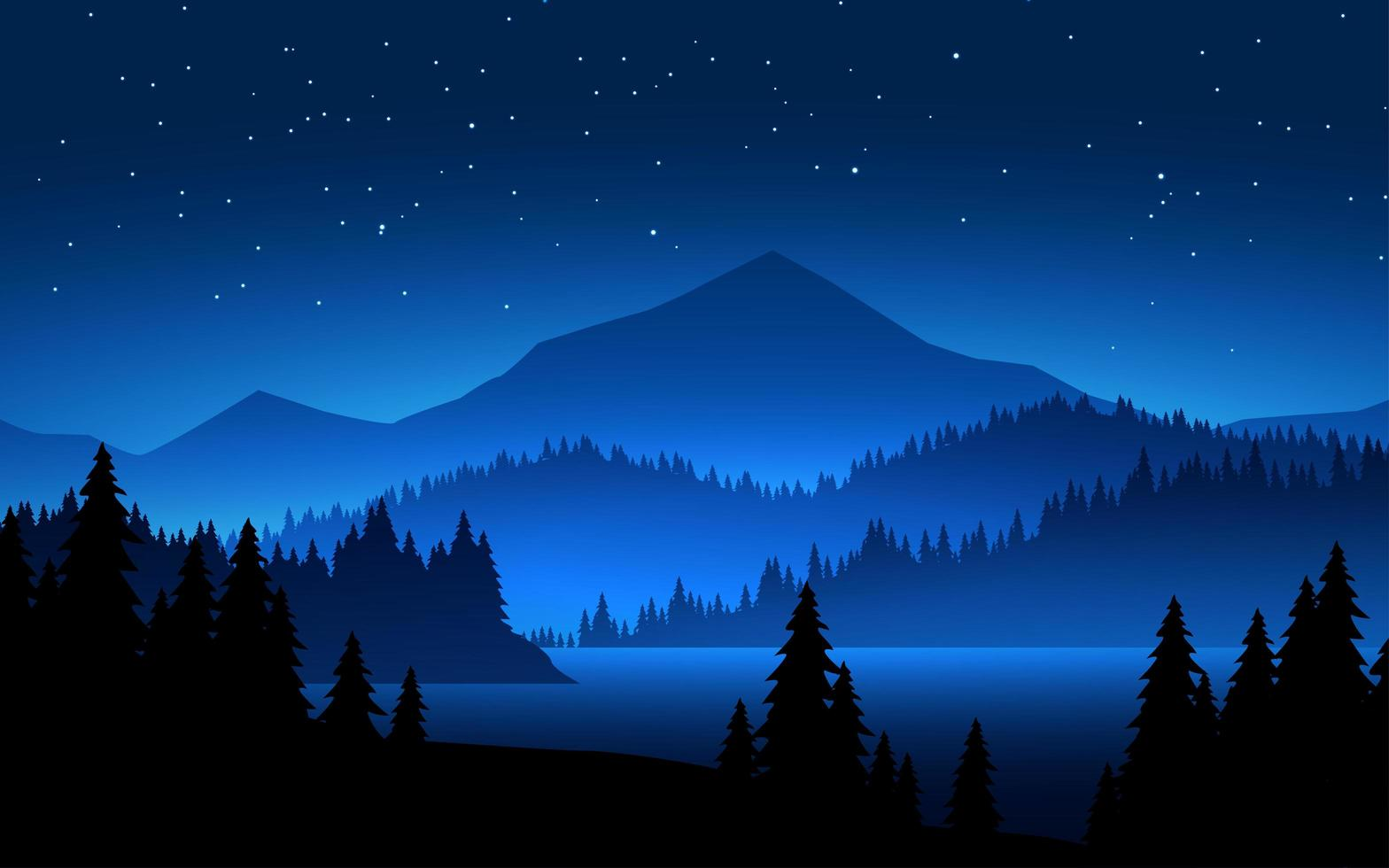 montañas en la escena del paisaje nocturno vector