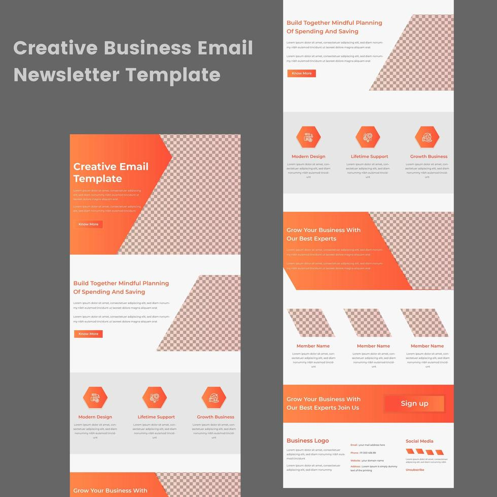 Multipurpose Orange and White Business Email Newsletter Template vector