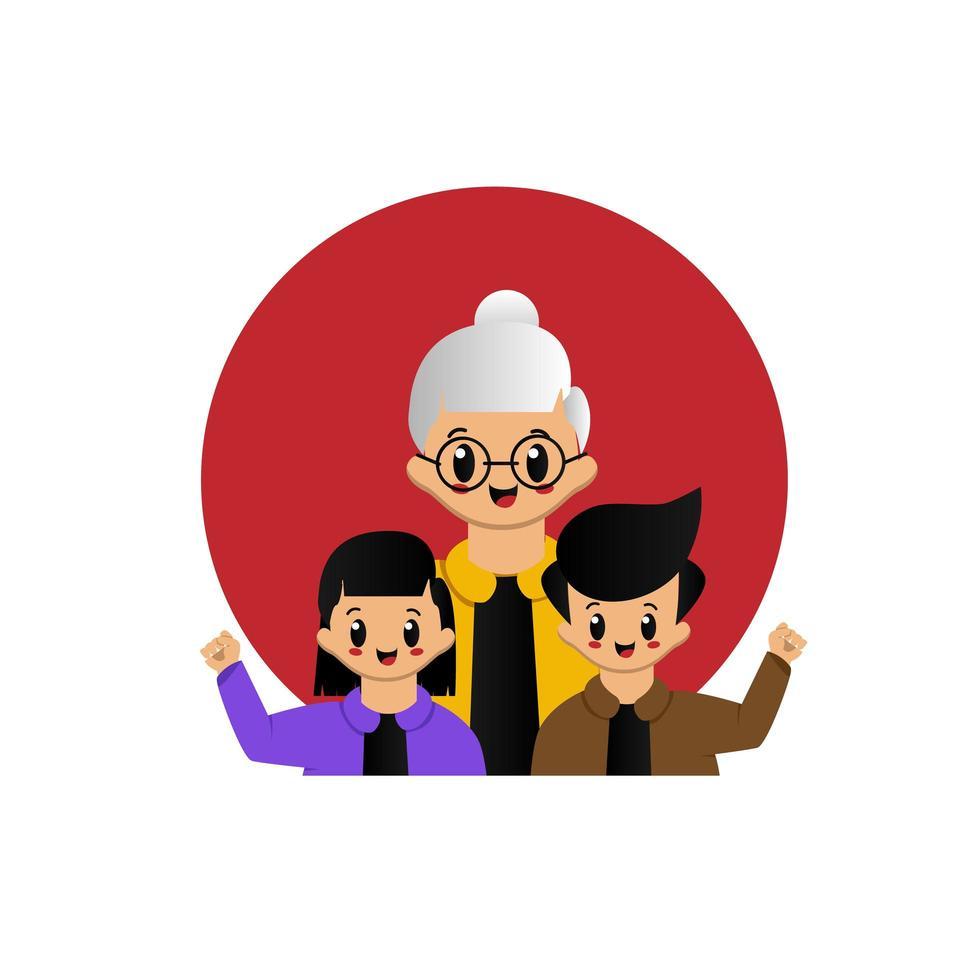 niedliche Großeltern mit Kinderentwurf vektor