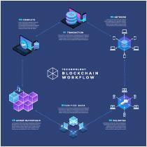infographic blockchain-workflow vector
