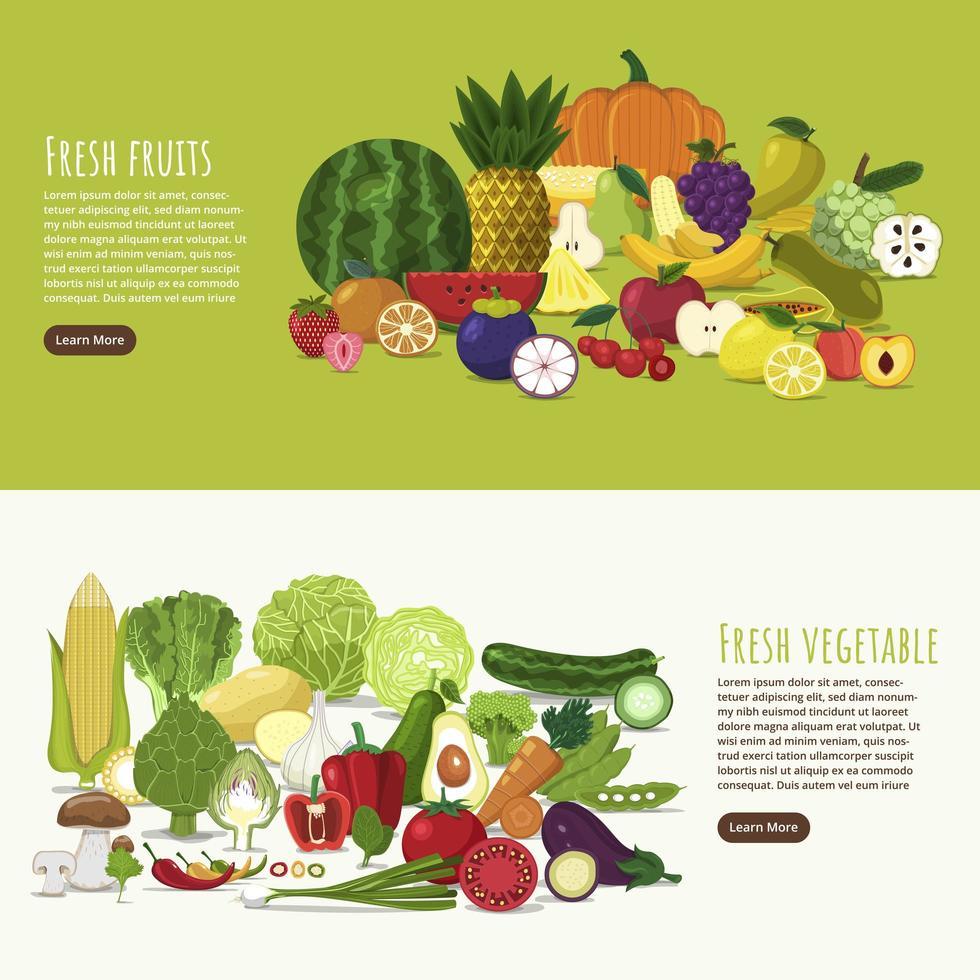conception de bannière fruits et légumes vecteur