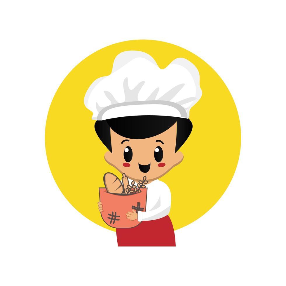 mascotte mignonne de boulanger vecteur