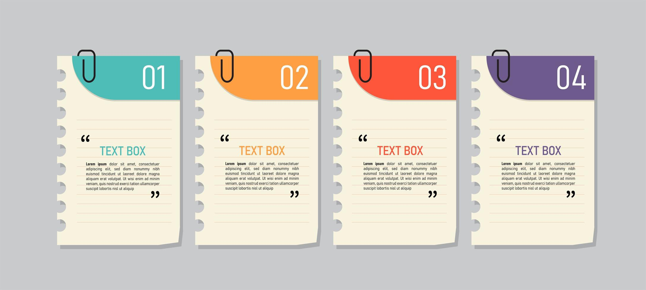 bunte Papier Notizen Icon Set vektor