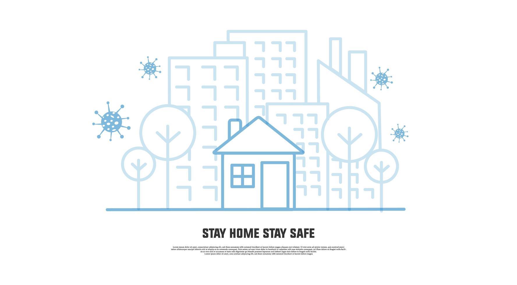blijf thuis blijf veilig vermijd coronavirus lijntekeningen banner vector
