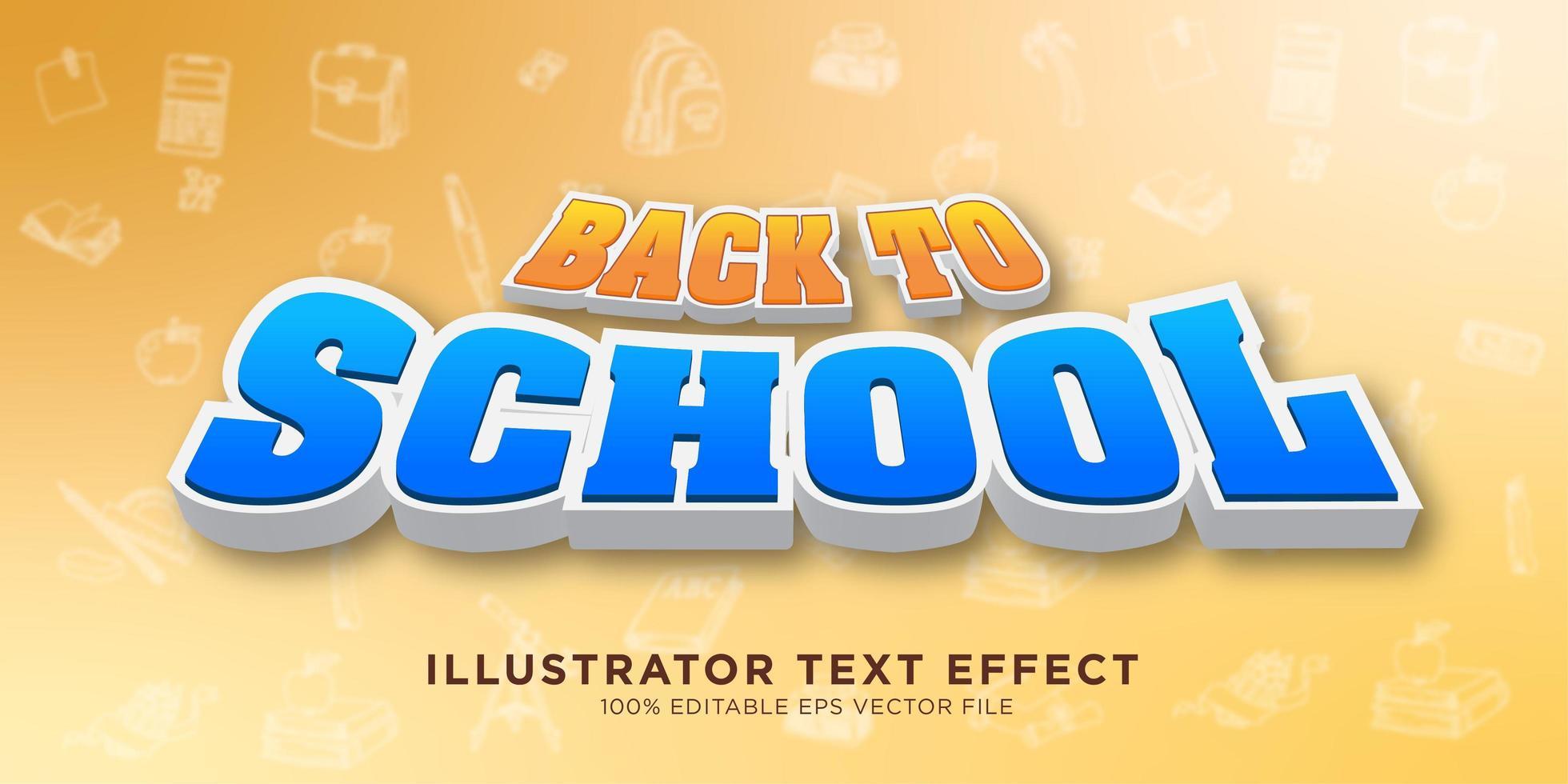 retour à la conception d'effet de texte scolaire vecteur