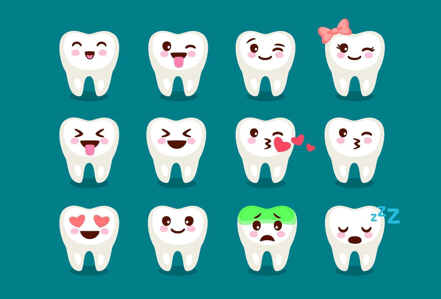 set van schattige tandheelkundige tanden emoji vector