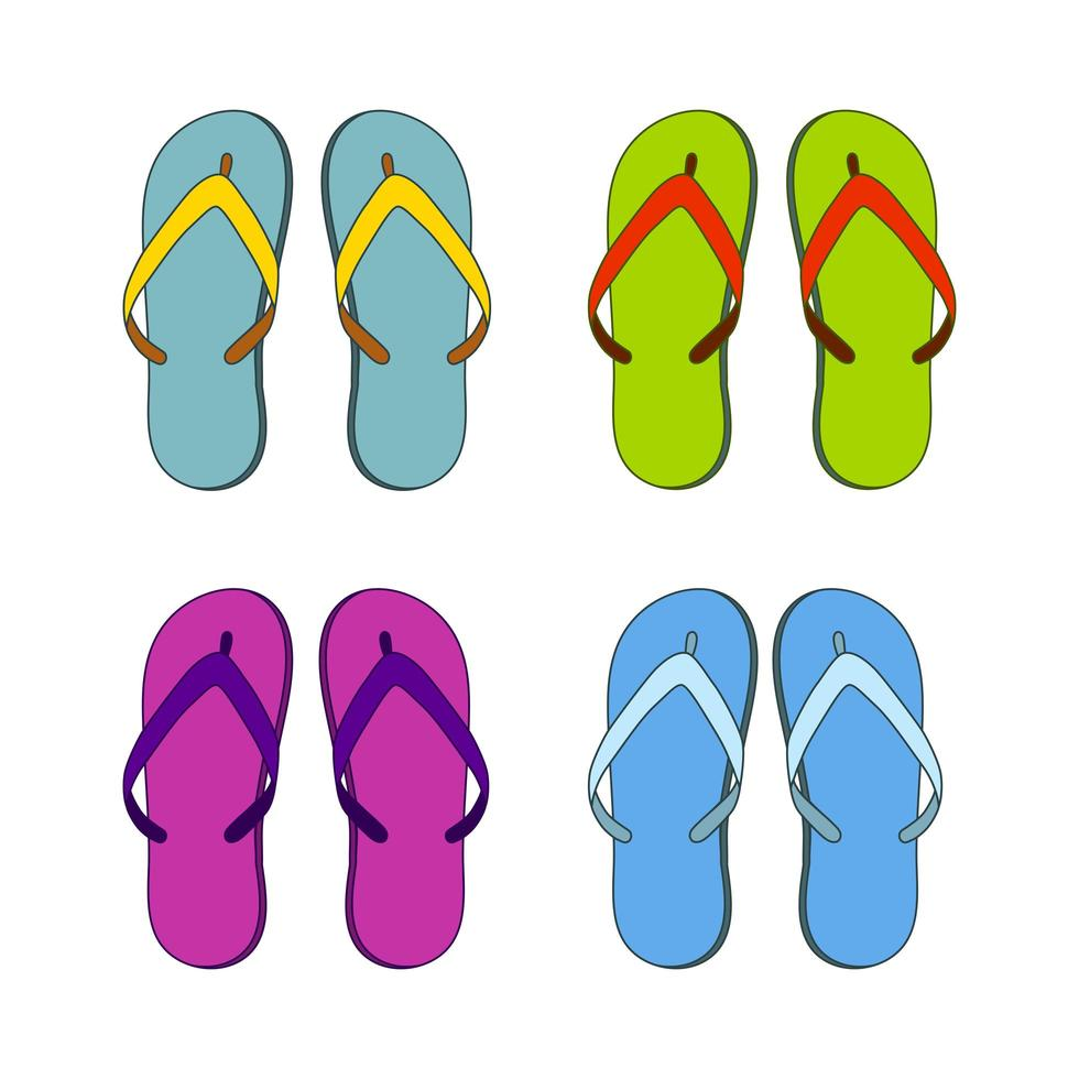 zapatillas chanclas, juego de diferentes colores vector