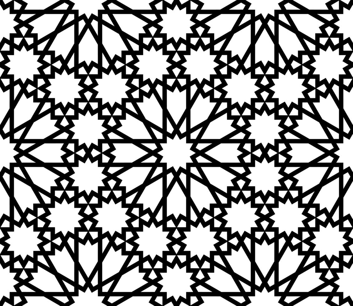 motif noir et blanc de style islamique vecteur