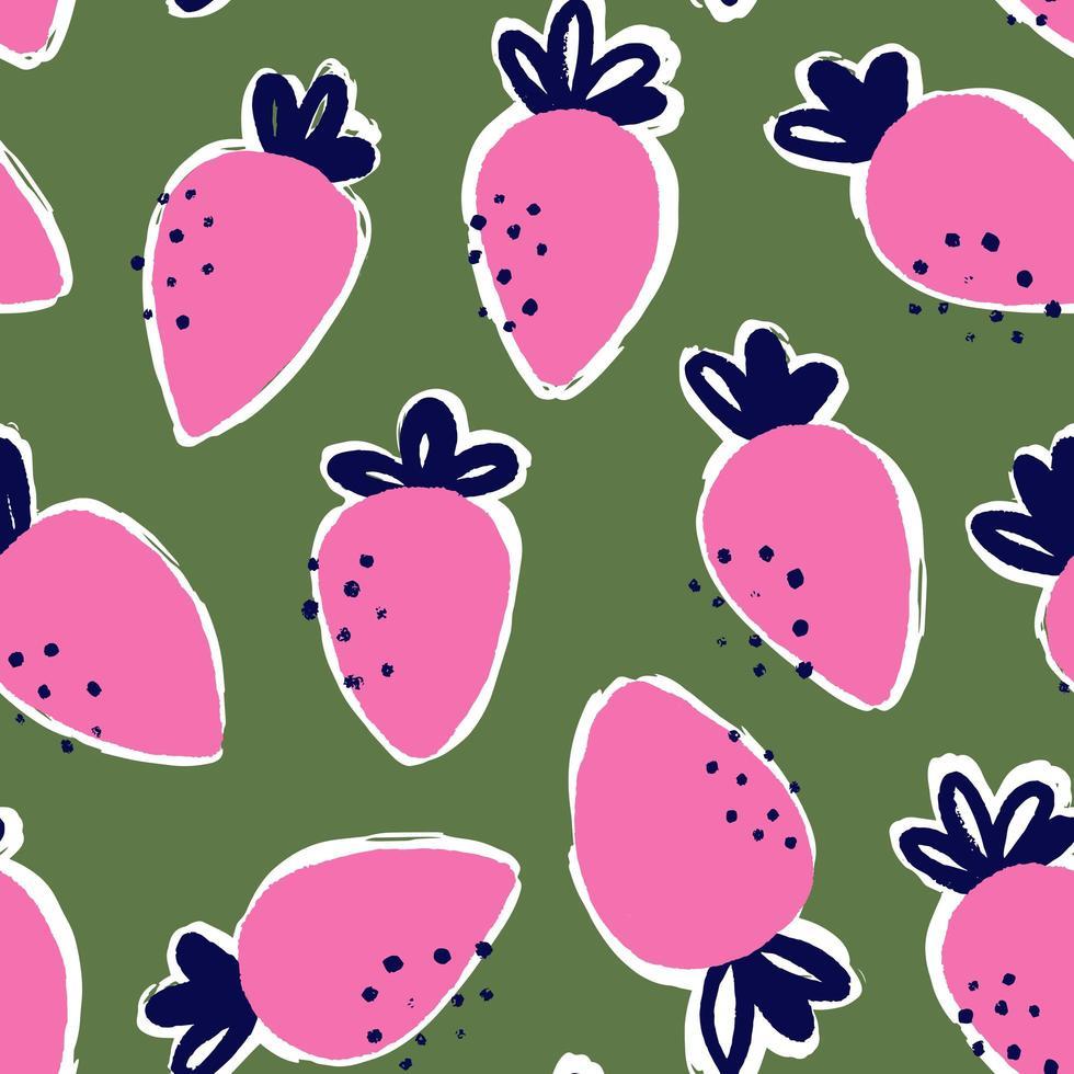 modèle sans couture de style de mode alimentaire fraise vecteur